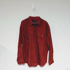 Eddie Bauer vintage red striped flannel size XL